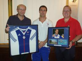 David Roberts MBE presents Clubs with Memorabilia